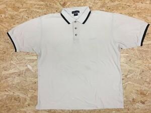 NIKE GOLF ナイキ ゴルフ Lサイズ メンズ ポロシャツ 半袖 3つボタン 刺繍ロゴ カットソー 鹿の子 ボックスカット ベージュ×ブラック