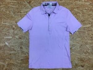 NICOLE CLUB FOR MEN ニコルクラブフォーメン サイズ46 メンズ ポロシャツ 薄手 半袖 チェック柄 カットソー パープル 紫