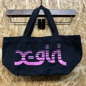 X-girl エックスガール ONE SIZE レディース ハンドバッグ ミニトートバッグ 手提げかばん カバン 綿100% ブラック×ピンク