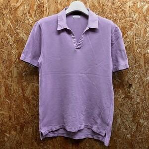 【日本製】 TOMORROWLAND トゥモローランド Mサイズ メンズ ポロシャツ 鹿の子 オープンカラー カットソー 半袖 綿100% パープル 紫