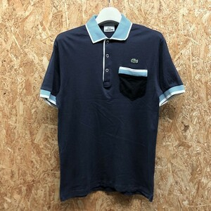 【日本製:(株)ファブリカ】 LACOSTE ラコステ 3 メンズ 薄手 ポロシャツ カットソー 半袖 綿100% ネイビー×ブルー×ホワイト×ブラック