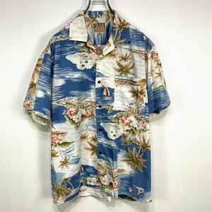 古着 アロハシャツ Mサイズ ブルー 青 総柄 半袖 シャツ ハワイアン オープンカラー 開襟 FIRE FLAG ヤシの木 ヨット 空 雲 ハイビスカス