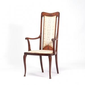 ≪英国アンティーク家具≫ 1910年代 アームチェア 象嵌 木製 椅子 いす アーツ&クラフツ マホガニー材 イギリス VA1077