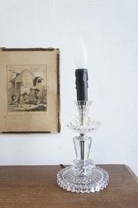 フランスアンティーク ガラス キャンドルテーブルランプ/クリスタル/シャンデリア/切子/ヨーロッパ/アンティーク照明/アンティーク間接照明