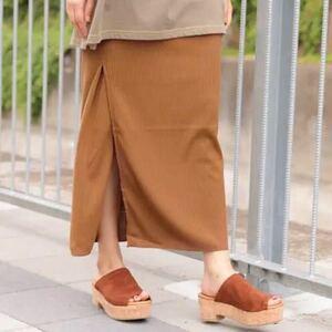 ニコアンド niko and... サラサラリブロングタイトスカート キャメル