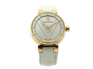 ルイヴィトン タンブール Q13M5 750PG K18PG/クロコダイル クオーツ レディース 腕時計 金無垢 【中古】【程度A-】【良品】