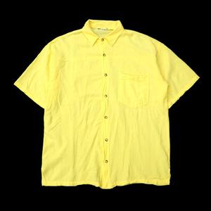 ☆送料無料☆ 90s ビンテージ USA製 半袖 コットン シャツ メンズ 90年代 古着 黄色 ワーク アメカジ ヴィンテージ