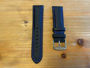 【22mm】イタリアンカーフ・スムース調 マッドレザー ブラック 黒 バネ棒付き / 時計ベルト 時計バンド 革ベルト 青ステッチ