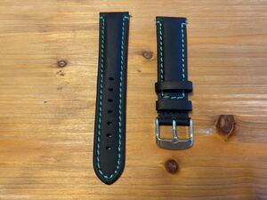 【20mm】イタリアンカーフ・スムース調 マッドレザー ブラック 黒 バネ棒付き / 時計ベルト 時計バンド 革ベルト 緑ステッチ