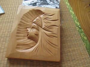 壁掛け 木彫り 220円 即落 縦24cm横19cm厚さ2cm