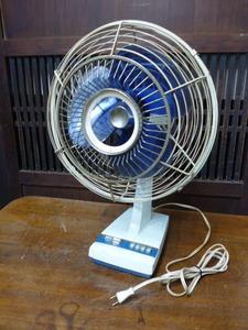 昭和レトロ 三菱 扇風機 D25-E型 青 ブルー 古道具 アンティーク レトロ家電 ディスプレイ 什器