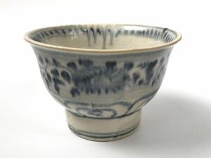 【在庫処分】安南 染付 絞手 蜻蛉手 茶碗 15世紀 ベトナム 時代、本物保証 無傷 直しもありません 共箱付