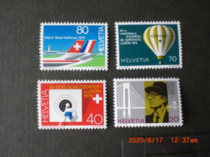 79年記念切手4種ー連邦ライフルマン祭典他 4種完 未使用 1979年 スイス連邦共和国 VF/NH
