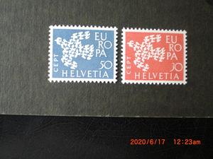 61年ヨーロッパ切手ー1つになって飛ぶハト 2種完 未使用 1961年 スイス連邦共和国 VF/NH