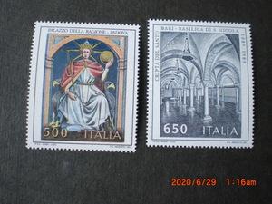 イタリア美術切手 パラッツオ画「笏と球体を持つ王」ほか 2種完 1989年 未使用 イタリア共和国 VF/NH