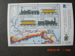フィンランド国際切手展ー初期の郵便列車 4種・小型シート 1987年 未使用 フィンランド共和国 VF/NH