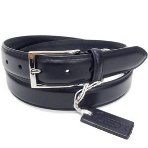イタリアンレザー メンズ本革ベルト ネイビー 牛革 ビジネスベルト 3cm巾 KHB-08NV