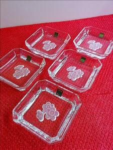 ホヤクリスタル 小皿 5枚セット 梅柄 醤油皿 薬味皿 冷菓 先付け皿などに