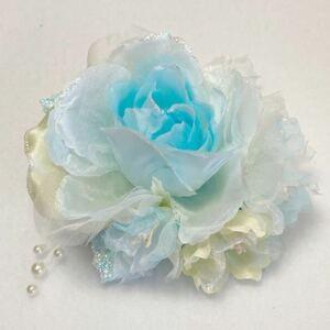 コサージュ 14-21M01 ブルー 小花・パール付き薔薇
