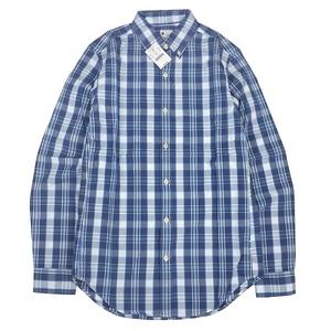 送料無料 デッドストック 海外限定 新品 J.CREW ジェイクルー コットン オックスフォード ボタンダウン シャツ ブルー チェック柄 青紺