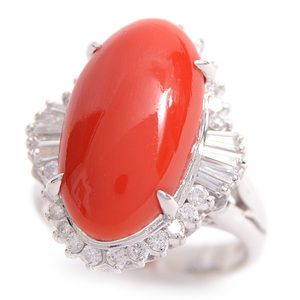 PT900 Natural Red Coral Dialing Womens D: 0.637ct CT Coral: 10.2 mm × 18.8mm No. 9 Platinum Finished [Pre]