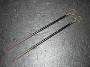 ●時代 古鉄製 矢型 火箸 (長23.3cm)●         /茶道具 瓶掛 火鉢 炭 五徳 鉄瓶 武具