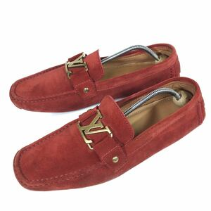 【ルイヴィトン】本物 LOUIS VUITTON 靴 27.5cm 赤 モンテカルロ ドライビングシューズ スリッポン ビジネス スエード メンズ 伊製 9 M