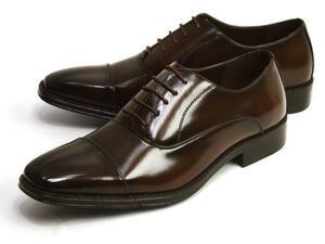 新品■未使用【25cm】ビジネスシューズ 幅広 3E ストレートチップ 紐 Men's フォーマル 紳士靴 スクエアトゥ 脚長 ロングノーズ 男 靴