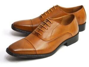 新品■未使用【27cm】ビジネスシューズ 幅広 3E ストレートチップ 紐 Men's フォーマル 紳士靴 スクエアトゥ 脚長 ロングノーズ 男 靴