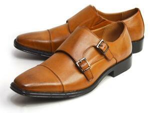 新品■未使用【26.5cm】ビジネスシューズ 幅広 3E ダブルモンク Sチップ Men's フォーマル 紳士靴 スクエアトゥ 脚長 ロングノーズ 男 靴
