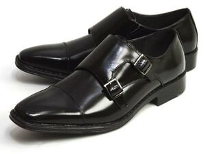 新品■未使用【25.5cm】ビジネスシューズ 幅広 3E ダブルモンク Sチップ Men's フォーマル 紳士靴 スクエアトゥ 脚長 ロングノーズ 男 靴
