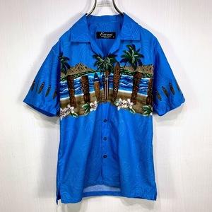 アロハシャツ Sサイズ ブルー 青 総柄 半袖 シャツ ハワイアン オープンカラー 開襟 サーフボード 海 ヤシの木 ハイビスカス