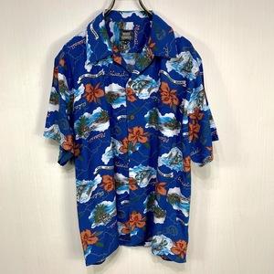 古着 アロハシャツ Mサイズ ブルー 青 総柄 半袖 シャツ ハワイアン オープンカラー 開襟 ハイビスカス ウクレレ ヤシ ヨット MIND GAMES