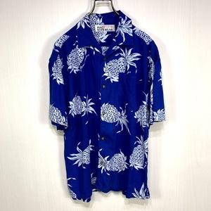 古着 アロハシャツ Mサイズ ブルー 青 総柄 半袖 シャツ ハワイアン オープンカラー 開襟 パイナップル レーヨン