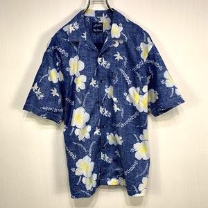 古着 アロハシャツ Mサイズ ブルー 青 総柄 半袖 シャツ ハワイアン オープンカラー 開襟 テレコ 裏表逆 花 フラワー