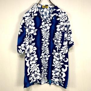 古着 アロハシャツ XLサイズ ブルー 青 総柄 半袖 シャツ ハワイアン オープンカラー 開襟 ハイビスカス 大きい ビッグ サイズ ボーダー