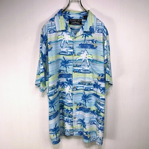 古着 アロハシャツ XLサイズ ブルー ホワイト 青 白 ボーダー 総柄 半袖 シャツ ハワイアン オープンカラー 開襟 大きい ビッグ サイズ