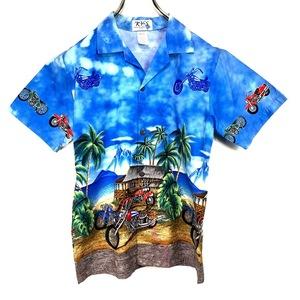 ハワイ製 KY'S アロハシャツ XLサイズ ブルー 青 総柄 半袖 シャツ ハワイアン オープンカラー 開襟 バイク ヤシの木 空 海 山