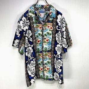 ハワイ製 RJC アロハシャツ Lサイズ ブルー 青 総柄 半袖 シャツ ハワイアン オープンカラー 開襟 ハイビスカス ヤシの木 人 島