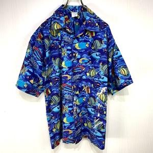 古着 アロハシャツ Mサイズ ブルー 青 総柄 半袖 シャツ ハワイアン オープンカラー 開襟 大きい 魚 フィッシュ