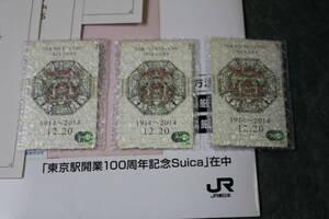 東京駅開業100周年記念Suica 新品・未使用 3枚セット 専用台紙付き スイカ