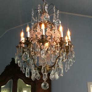 フランスアンティーク シャンデリア 10灯 剣状ガラス装飾 フレンチシャンデリア アンティーク照明 アンティークシャンデリア ガラス