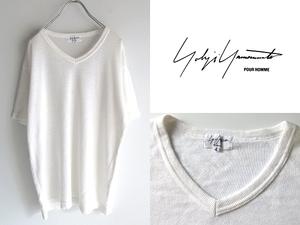 ネコポス対応 Yohji Yamamoto POUR HOMME ヨウジヤマモトプールオム 2004SS ラミー/リネンニット VネックTシャツ カットソー 4 白 ホワイト