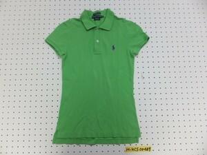〈送料280円〉RALPH LAUREN ラルフローレン レディース ワンポイント刺繍 スキニー 鹿の子 半袖ポロシャツ 小さいサイズ XS 黄緑