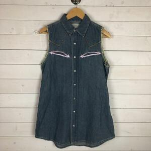 未使用 HALFMAN ハーフマン タグ付 ノースリーブ デニムシャツ カットオフ 刺繍 ベスト Sサイズ 10065763