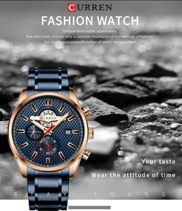 カレン New ファッションメンズ腕時計ビジネス多機能クロノグラフクオーツ腕時計カジュアル防水ステンレス鋼時計時間