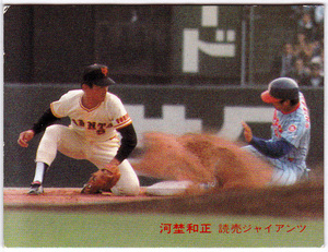 カルビー プロ野球チップスカード 1981年 No.411 河埜和正(読売ジャイアンツ) 巨人 日本シリーズ