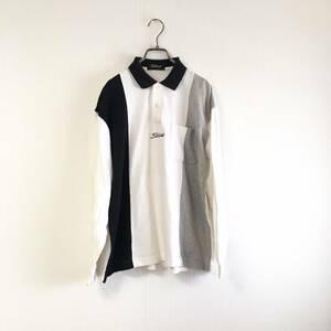 Titleist タイトリスト 長袖ストライプ柄ポロシャツ 胸ロゴ刺繍 日本製 メンズ M ゴルフウエア