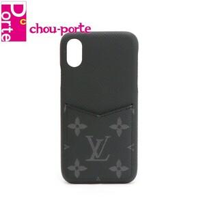 ルイヴィトン (LOUIS VUITTON) スマホケース iPhone バンパー X/XS タイガレザー エクリプス ブラック 黒 メンズ 中古極美品 現行