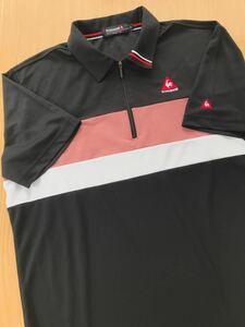 ルコック le coq sportif ルコックスポルティフ ゴルフウェアー メンズ LLサイズ 半袖 シャツ 劣化 黒